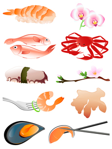 seafood and other traditional japanese food iconsのイラスト素材 [FYI03067868]