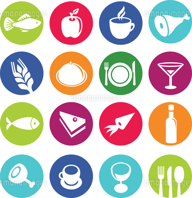 Vector set or restaurant icons and food - pictograms on circlesのイラスト素材 [FYI03067896]
