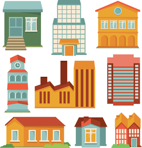 Vector set with buildings icons - map elements in retro styleのイラスト素材 [FYI03067902]