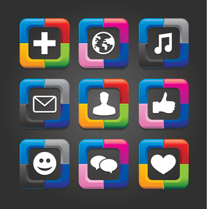 set of nine vector social media buttons on black backgroundのイラスト素材 [FYI03067906]