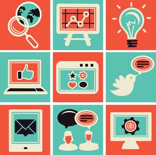 Vector internet marketing icons - set in retro styleのイラスト素材 [FYI03067907]