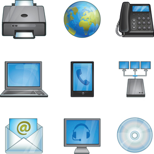 vector office icons - phones, printer, connection, networkのイラスト素材 [FYI03067908]