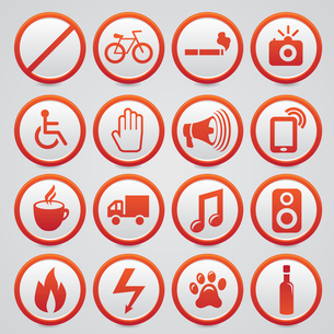 Set of vector warning signs with red iconsのイラスト素材 [FYI03067913]