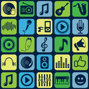 Vector music seamless pattern with icons and pictogramsのイラスト素材 [FYI03067916]