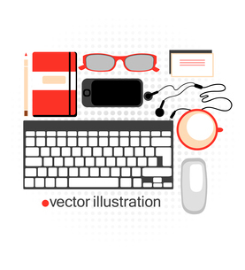 vector illustration of a  modern workspace with  useful devices , stationery and a cup of coffeeのイラスト素材 [FYI03067921]