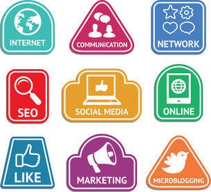 Vector stickers with social media and internet  marketing icons - web conceptのイラスト素材 [FYI03067931]