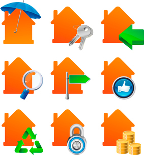 Vector real estate cocnept - house iconsのイラスト素材 [FYI03067934]
