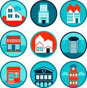 Vector set with real estate logos and emblemsのイラスト素材 [FYI03067945]
