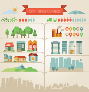 elements for infographics about city and villageのイラスト素材 [FYI03067949]