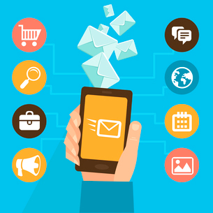 Vector mobile app - email marketing and promotionのイラスト素材 [FYI03067974]