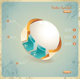Vector illustration of ball & arrow symbol in retro styleのイラスト素材 [FYI03068105]