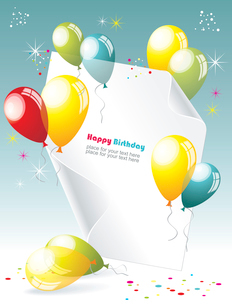 Card to birthday, with balloonsのイラスト素材 [FYI03068115]