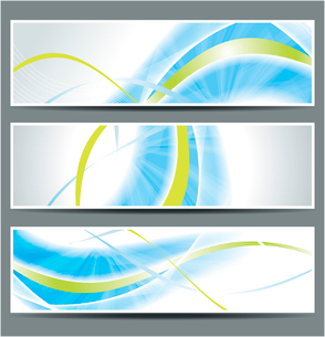 set of three banners, abstract headers with blue linesのイラスト素材 [FYI03068135]