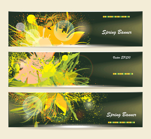 Set of horizontal banners with flowersのイラスト素材 [FYI03068178]