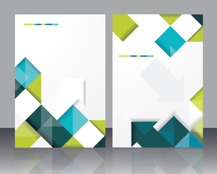 Vector  brochure template design with cubes and arrows elements. EPS 10のイラスト素材 [FYI03068213]