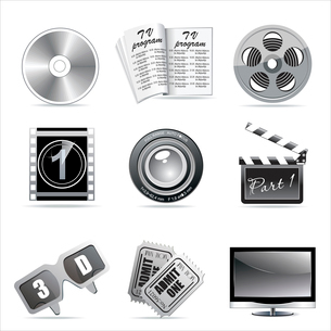 Vector cinema icons: film reel, stack of reels, film strip and clapboard : film reel, stack of reelsのイラスト素材 [FYI03068260]