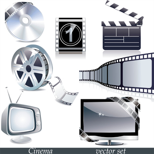 Vector cinema icons: film reel, stack of reels, film strip and clapboardのイラスト素材 [FYI03068261]