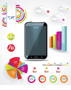 Modern Infographic with a touch screen smartphone in the middle.のイラスト素材 [FYI03068298]