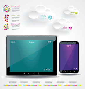 Modern Infographic with a touch screen smartphone in the middle.のイラスト素材 [FYI03068301]