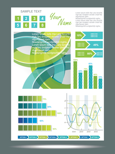 Blue and green technological banner with Information Graphics . Vector illustrationのイラスト素材 [FYI03068337]