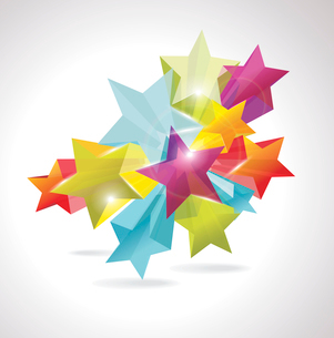 Abstract Colorful Background with 3d glass stars. Vector. . 3d glass starsのイラスト素材 [FYI03068380]