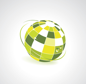Background with green globe icon. Ecology conceptのイラスト素材 [FYI03068405]