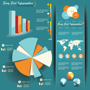Set of Infographic Elements. World Map and Information Graphicsのイラスト素材 [FYI03068433]