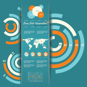 Set of Infographic Elements. World Map and Information Graphicsのイラスト素材 [FYI03068434]