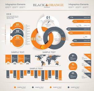 Retro infographics set. World Map and Information Graphics.のイラスト素材 [FYI03068450]