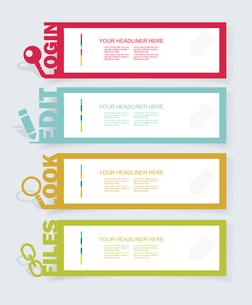 Web panel Set. Infographics number options template. Vector.のイラスト素材 [FYI03068717]