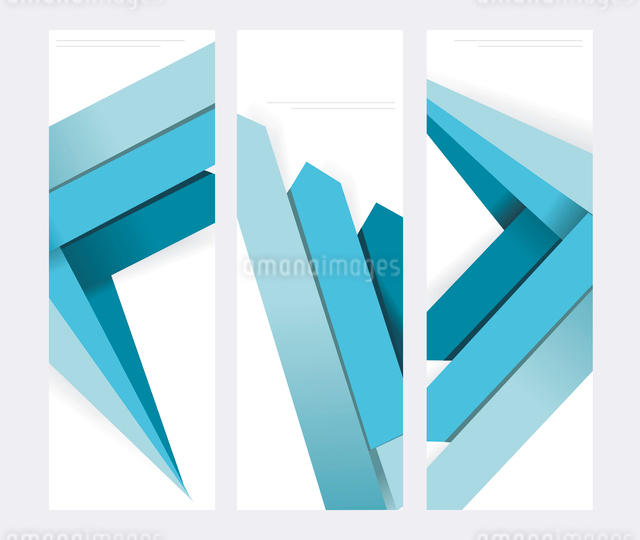 Set of abstract vector paper banners with blue arrows.のイラスト素材 [FYI03068827]