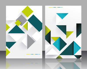 Vector brochure template design with cubes and arrows elements.のイラスト素材 [FYI03068831]