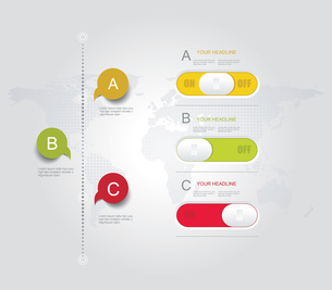 Infographic design template with world map, web buttons and paper tags.のイラスト素材 [FYI03068904]
