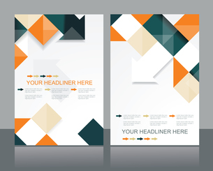 Vector brochure template design with orange & black cubes and arrows elements.のイラスト素材 [FYI03068931]