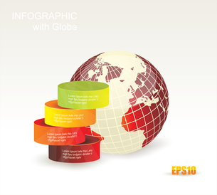 Modern box Design Minimal style infographic templatewith Globe. Can be used for diagram, numbered baのイラスト素材 [FYI03068971]