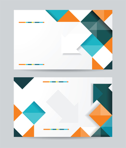 Vector template design with cubes and arrows elements. Brochure or banners or business card design.のイラスト素材 [FYI03068993]