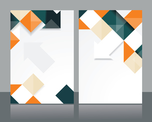 Vector brochure template design with orange & black cubes and arrows elements.のイラスト素材 [FYI03068995]