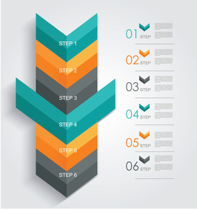 Minimal infographics or Step banners template in Arrow style. Vector.のイラスト素材 [FYI03069054]