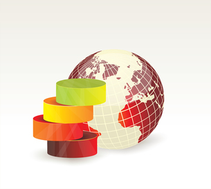 Modern box Design Minimal style infographic templatewith Globe. Can be used for diagram, numbered baのイラスト素材 [FYI03069097]