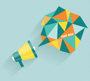 Flat vector icon of megaphone with bubble speech for social media marketing conceptのイラスト素材 [FYI03069171]