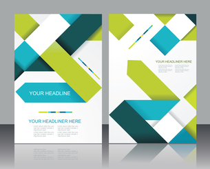 Vector brochure template design with cubes and arrows elements.のイラスト素材 [FYI03069182]