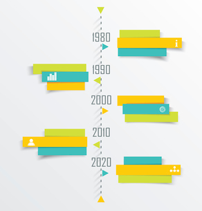 Time Line design template with paper tags. Idea to Display information, Steps for industrial factoryのイラスト素材 [FYI03069260]