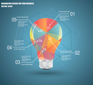 Infographic Template with Light bulbs geometric design.のイラスト素材 [FYI03069273]