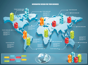 3d vector world map illustration with modern elements of info graphics.のイラスト素材 [FYI03069275]