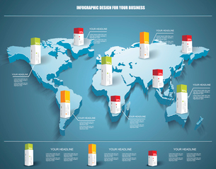 3d vector world map illustration with modern elements of info graphics.のイラスト素材 [FYI03069276]