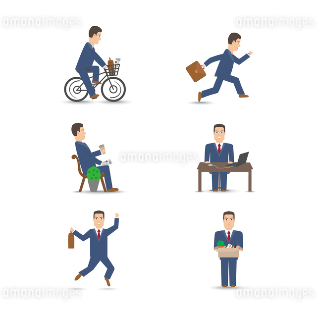 Business office people scenes set vector illustrationのイラスト素材 [FYI03069592]