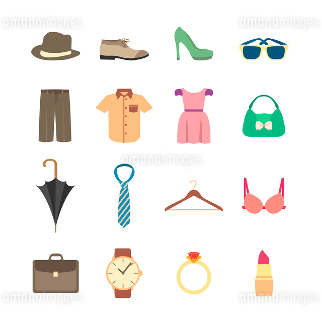 Fashion and clothes accessories icons of pants shirt dress and bra vector illustrationのイラスト素材 [FYI03069597]