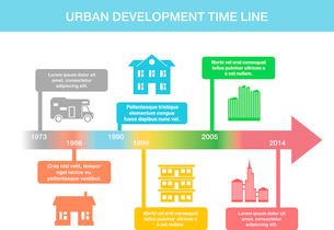 Infographic timeline elements with real estate vector illustrationのイラスト素材 [FYI03069598]