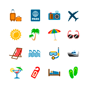 Holidays journey design elements of plane yacht bags and passport isolated vector illustrationのイラスト素材 [FYI03069611]