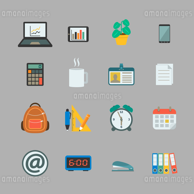 Business collection of flat stationery office supplies color icons isolated vector illustrationのイラスト素材 [FYI03069621]